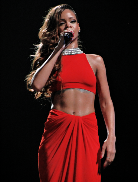 Rihanna Red Halter Top Dress