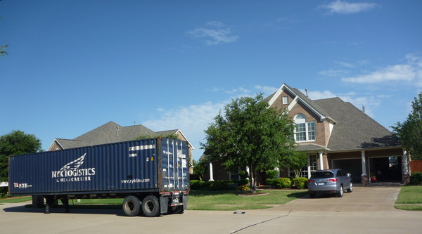 container in front of our mckinney home