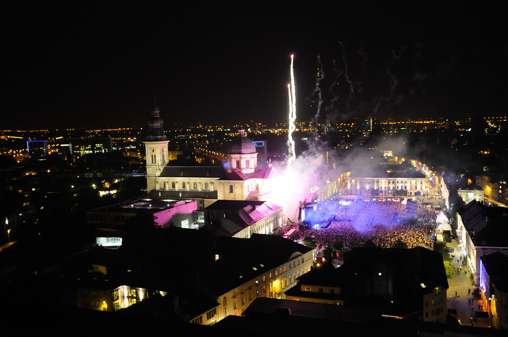Sint-Pietersplein Gent (Belgium) during the Prince concert on July 6th 2011 including fireworks